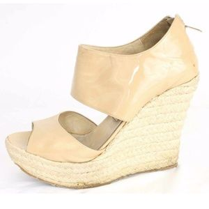 Jimmy Choo Nude Patent Leather Patriot Wedges